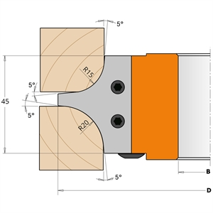 Set of cutters for ¼ radius tool holder