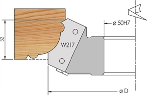 Upright moulding cutter head with knives