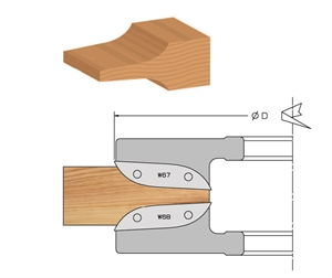 Groove profile panel raising cutter head with knives
