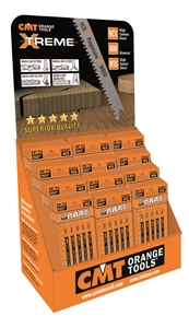 End cap cardboard display for jig saw blades
