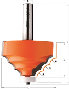 Solid surface decorative edge profile router bits