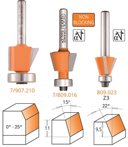 Bevel trim router bits