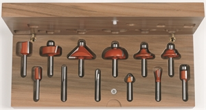 12 piece router bit set with wooden case