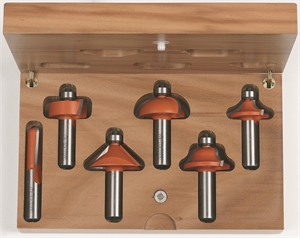 6 piece profile router bit set with wooden case