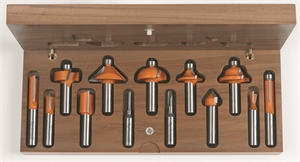 13 piece router bit set with wooden case