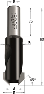 45° Countersink with parallel shank