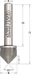 90° Solid carbide countersink with parallel shank